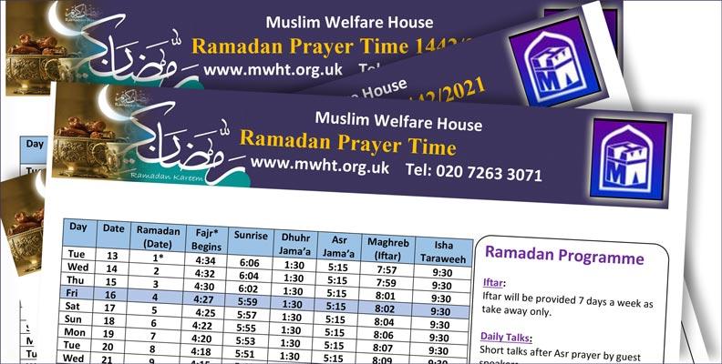 Ramadan Prayer Time Table London 2021